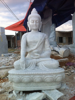 Shakyamuni Buddha Statues For Sale White Marble Stone Hand Carving  Sculpture For Home Garden Pagoda Temple