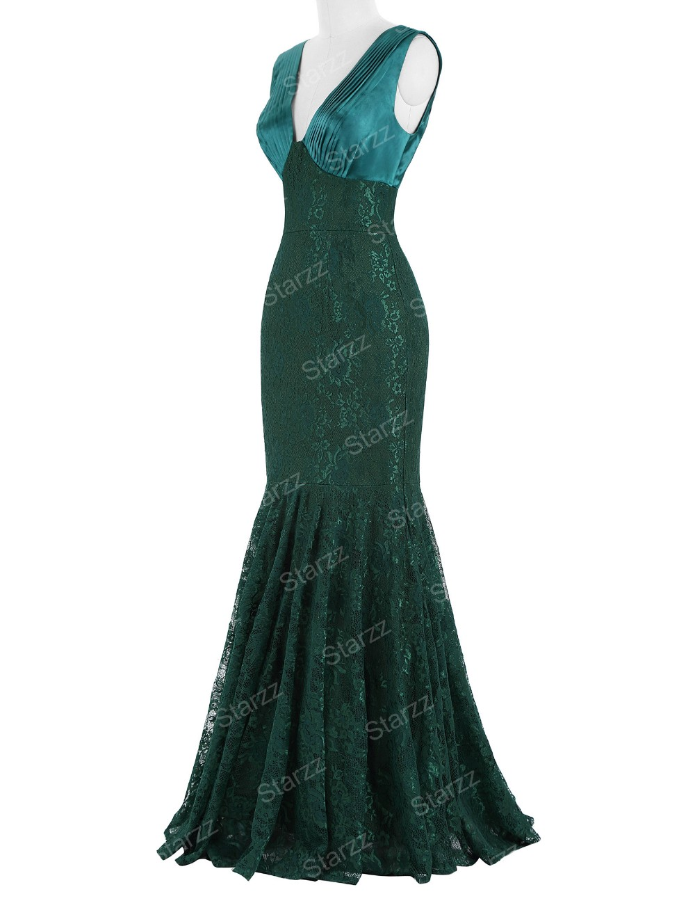 Starzz 2016 Sleeveless V-Neck V-Back Dark Green Mermaid ...