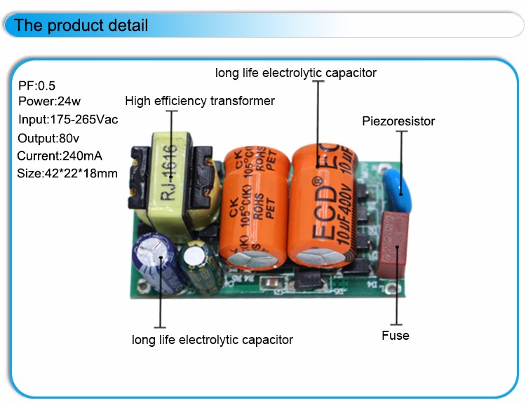 low price no flicker led bulb driver 60v 80v 100v 105v 24w 240ma led driver circuit