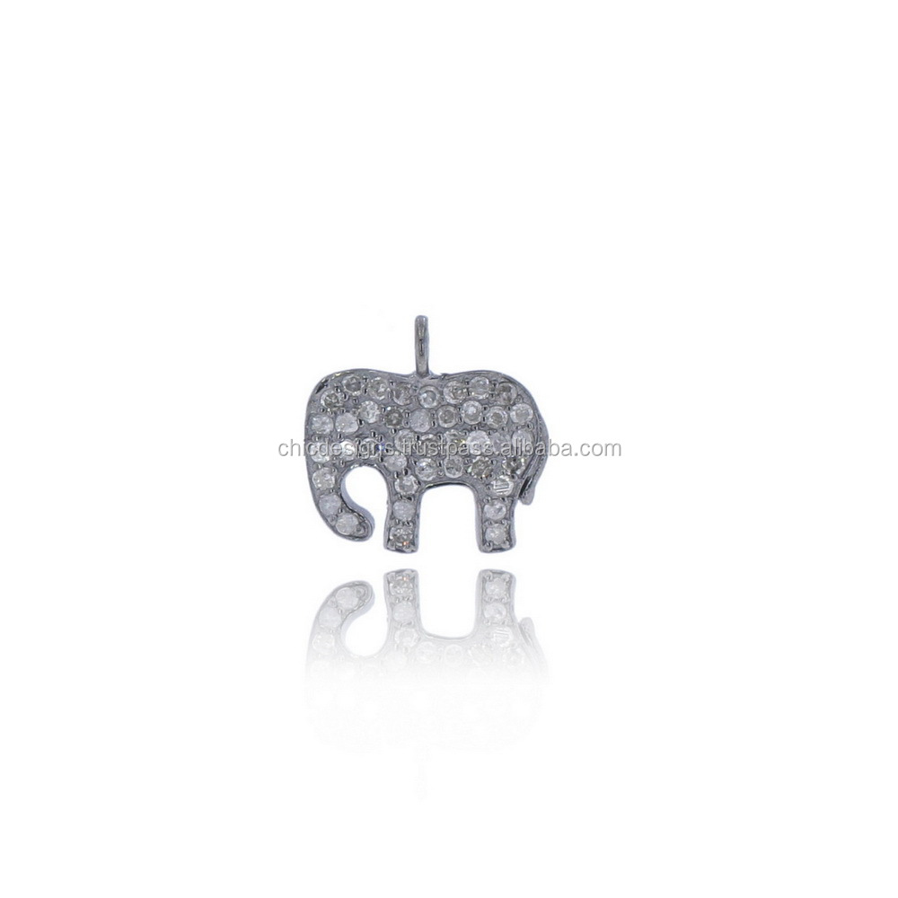 925 Sterling Silver Pave Diamond Designer Elephant Charm Indian Jewelry Supplier