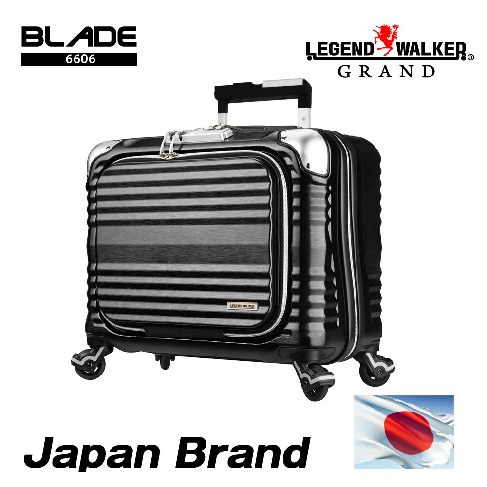 Japan brand and 100% PC embossed body famous brand logo bag for business and travel use with original silent caster
