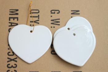 sublimation blank heart shaped coated white ceramic ornaments