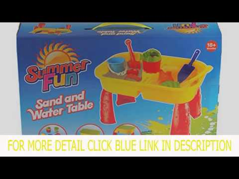 Summer Play Sand And Water Table With 8 Accessories - Toddlers Activity Toy Top