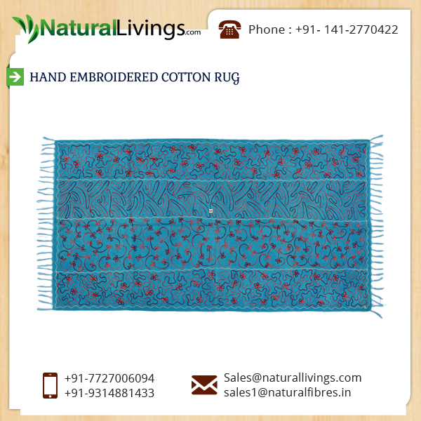 Elevated Durability Fine Fnish Hand Embroidered Cotton Rug Supplier