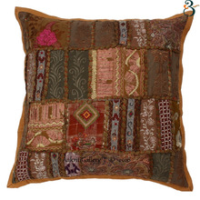 Indian Cushion Cover Handmade Khambodia Patch Pillow Case For Sofa Kantha Cushion Cover