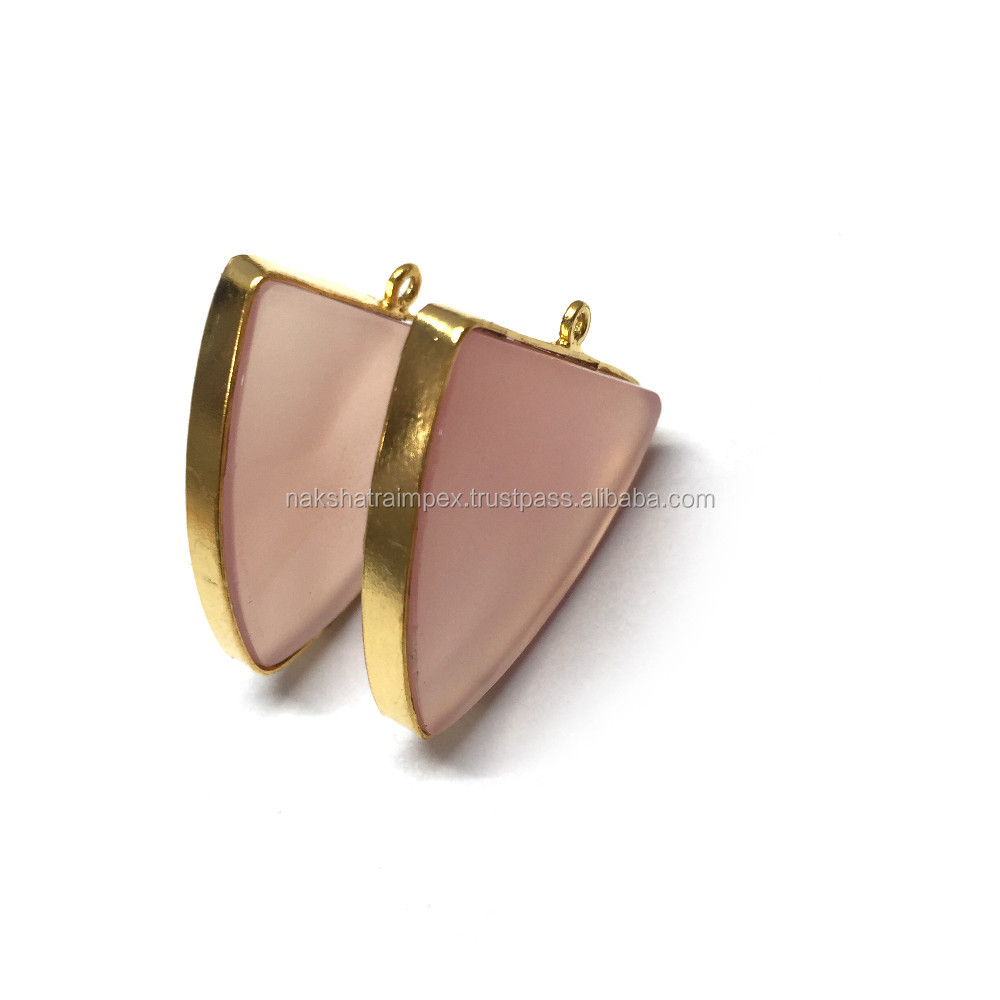 Crystal & Rose Quartz Shield Bezel Gold Plated Pendant