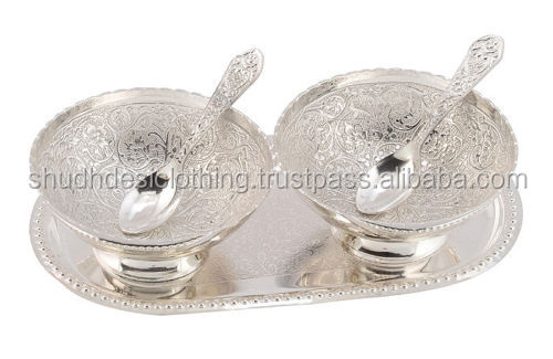 Indian Silver Plated Designer Bowl Set For Wedding Gifts From India