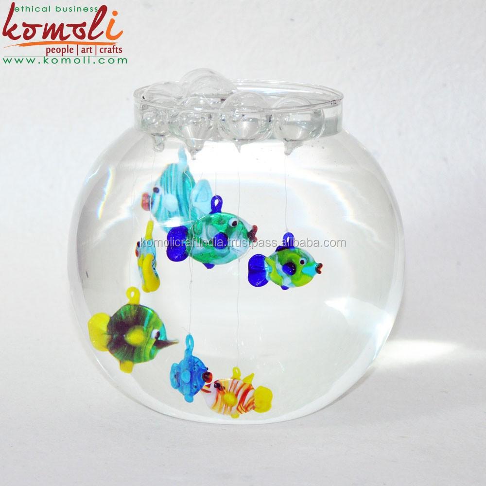 Kleinen Schwimmenden Glas Fisch Dekoration Glas Fischfigur Fr