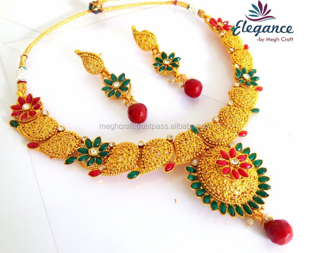 Indian Ethnic One Gram Gold Jewelry Set With Earring - Traditional ...