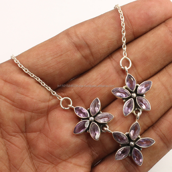 Handmade Artisan Necklace 925 Sterling Silver Jewellery Natural AMETHYST Gemstone