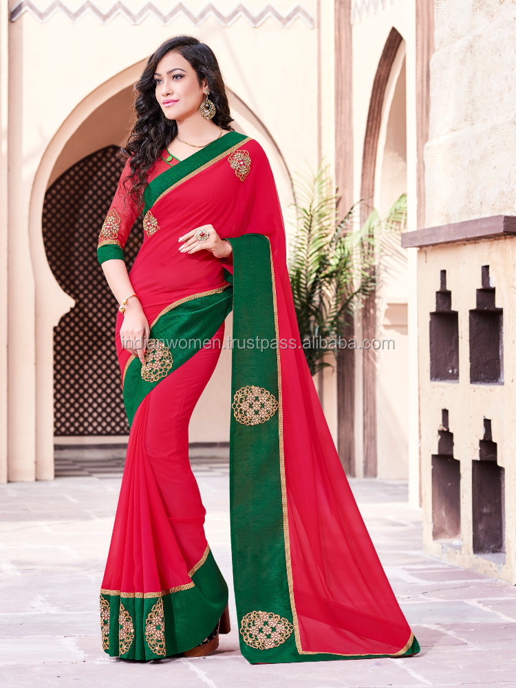 Casual Wear Red Bordered with Butta Work Saree