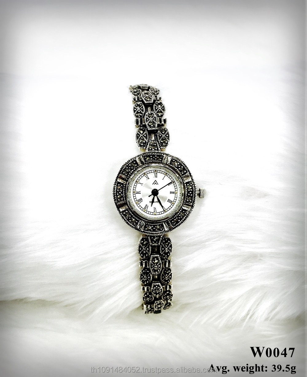925 sterling silver Classic Watch for men and women with Swiss marcasite stone jewelry timepiece