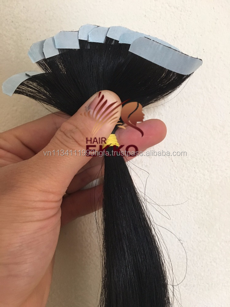 Tape Italy glue natural hair for extension remy human skin weft hair wholesale price long black virgin human hair Oct 2016