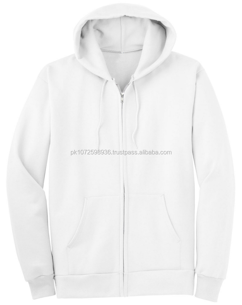 Cheap Men's Fleece Plain White Zip Up Hoodies/wholesale Blank ...