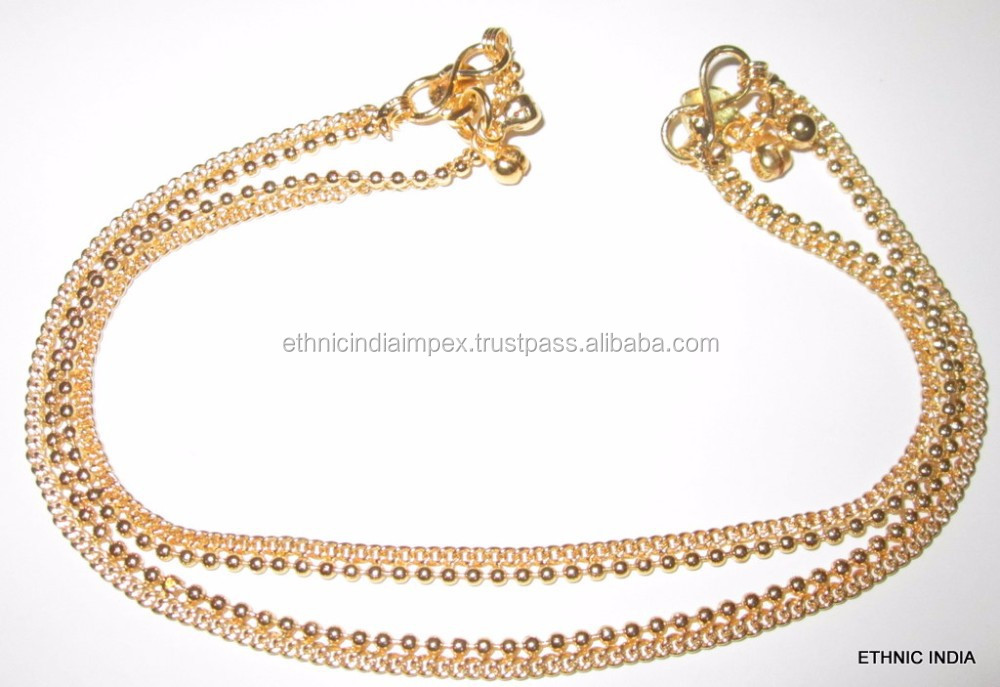 gold TONE CHAIN PAISLEY DESIGN ANKLETS PAYAL pair foot chain