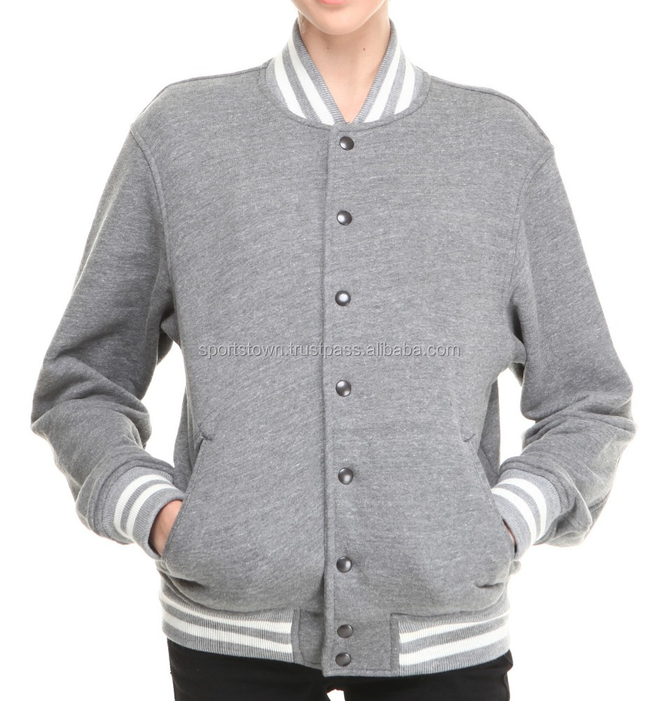 Wholesale custom made plain 100% wool varsity jacket letterman jacket cheap grey plus size varsity jacket for women