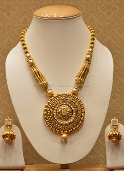 Gold Plated Designer Temple Jewellery Necklace Set For