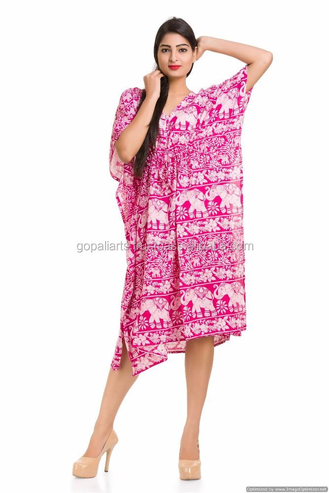 Indian Cotton Gown Maxi Sleepwear Dress Tunic Beach Wear Elephant ...