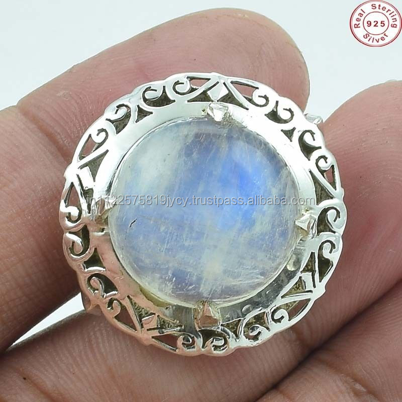 Solid 925 Sterling Silver Natural Moonstone Wellmade Indian Handmade Ring Jewellery US S 8 AB209