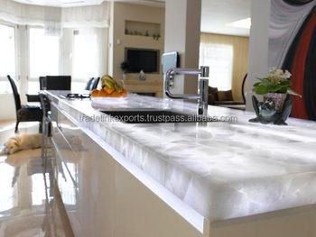 Quartz Blanc Retro Eclairage Naturel Pierre Vanite De Comptoir De