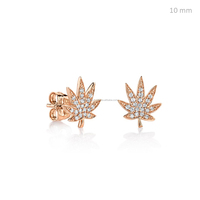 14k Solid Gold 0.13 ct SI Diamond Snowflake Studs Fine Earrings Jewelry