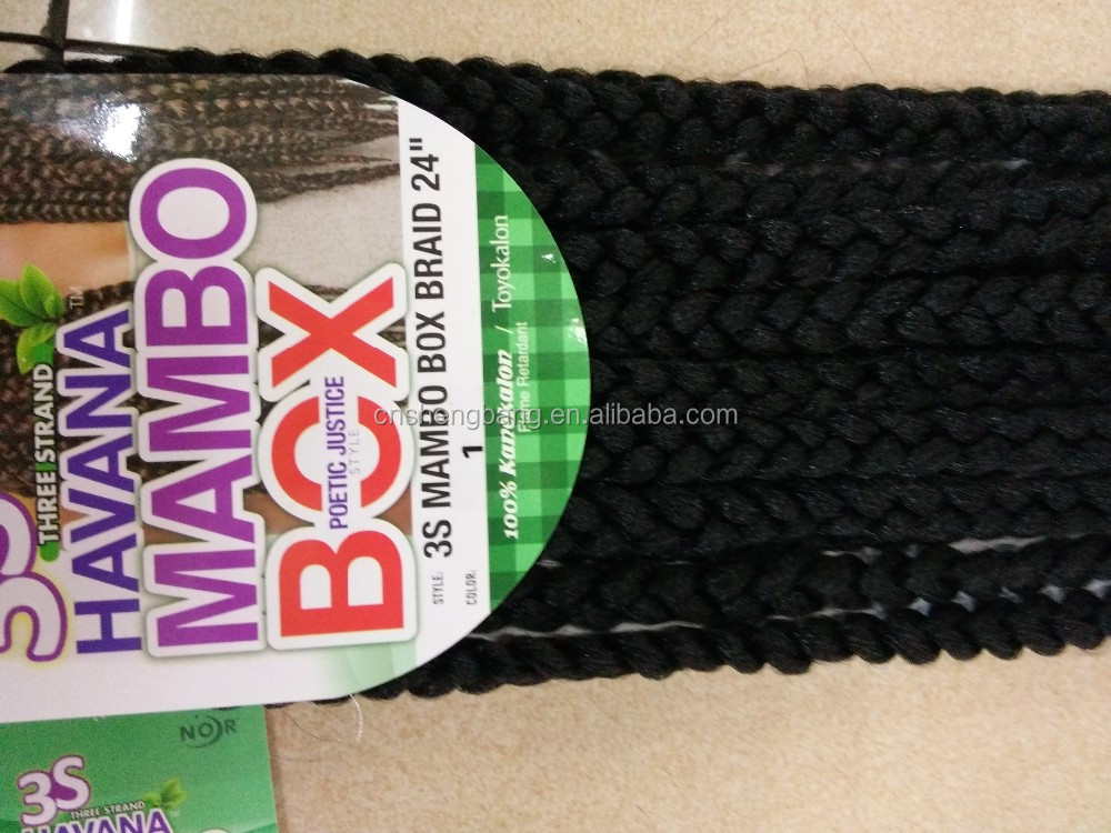 "Hot-sale JANET CROCHET 3S MAMBO BOX BRAIDS 24"" ,Three strands in one 2strands in one 24"" 165gram ,flame retardant"