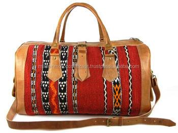 Trendy Handmade Genuine Leather Kilim Duffle Weekender Bag - Buy ... d120fea6ead10