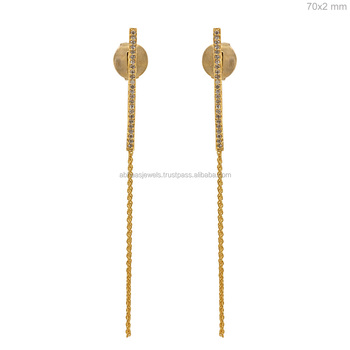 Diamond Beautiful Design Wedding 18kt Yellow Gold Chain Stick Earrings