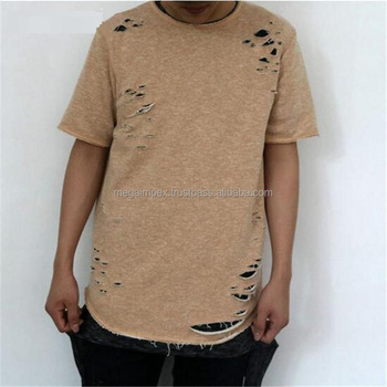 Distressed elongated t shirts 2017 new custom mens for How to make a distressed shirt
