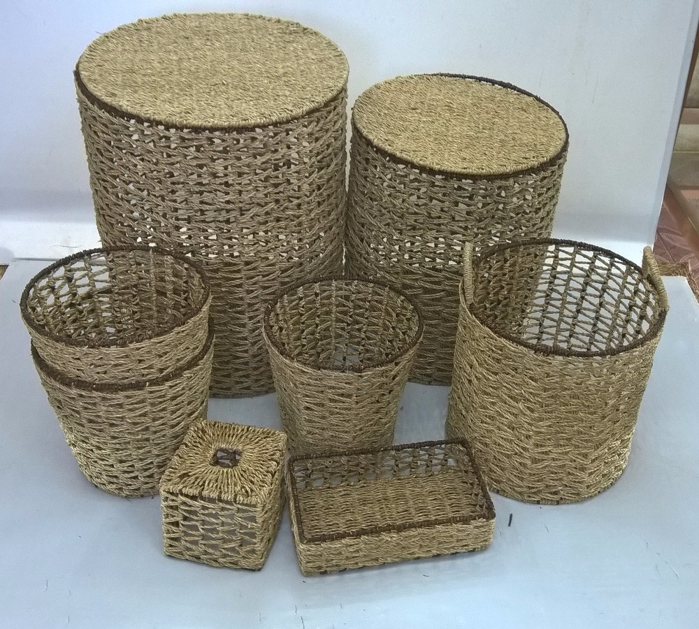 Seagrass Storage Laundry Hamper Basket With Lid And