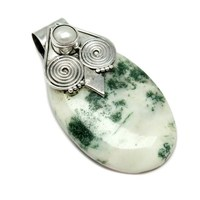 New Stunning Bezel Setting Tree Agate_Pearl Gemstone 925 Sterling Silver Pendant,Wholesale Silver Alibaba Online Jewelry