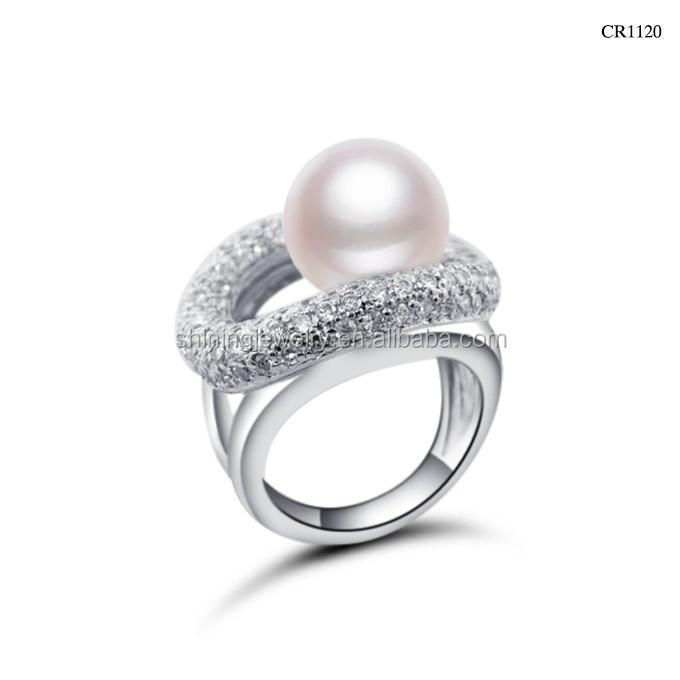 Zirconia Pave Imitation Pearl Setting Women Rings 925 Italian