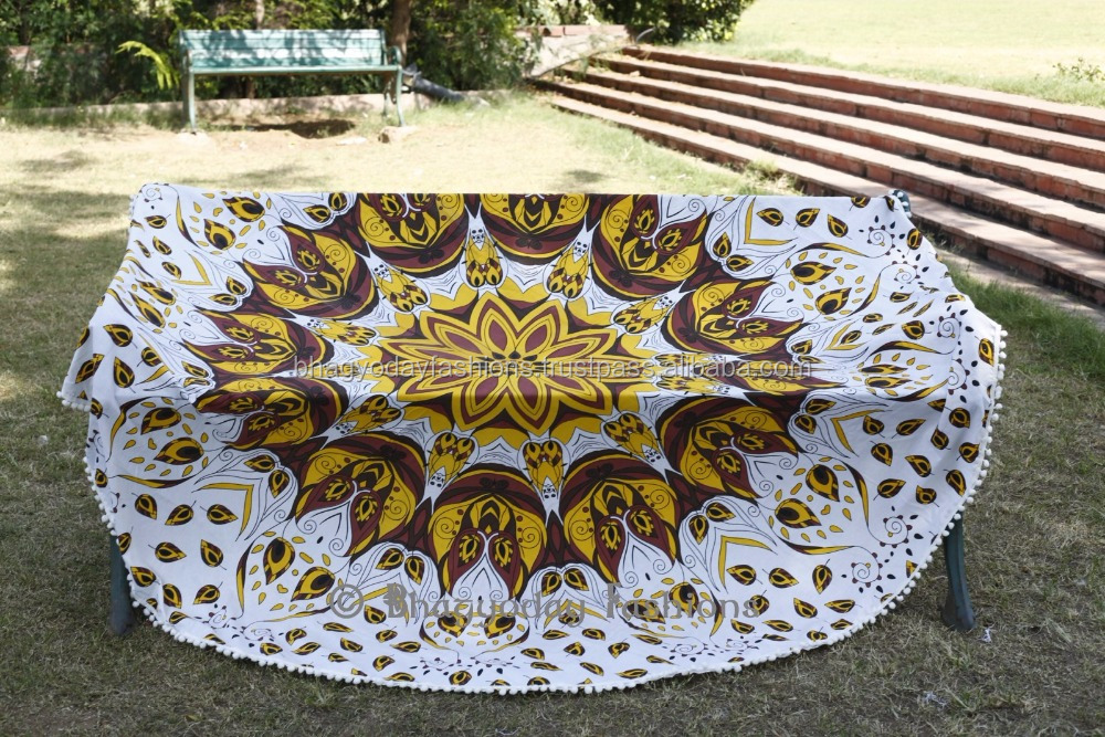 Boho Mandala Tapestry Round Table Beach Blanket Throw Indian Yoga Mat Towel Roundie Blanket
