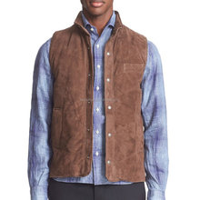 Suede leather vest men's