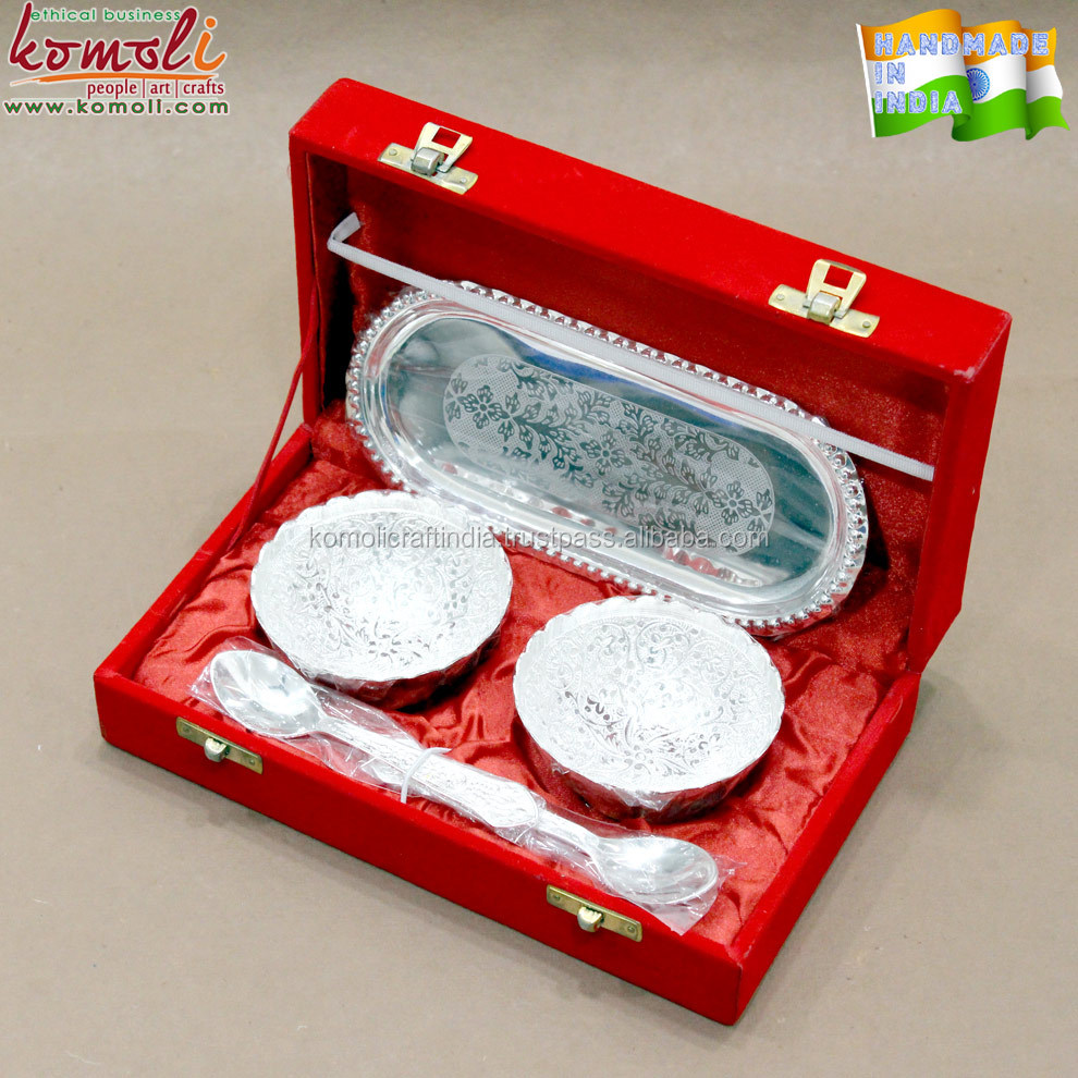 Mini Capsuel Silver Plated Brass Bowl Spoon Set For Indian Baby