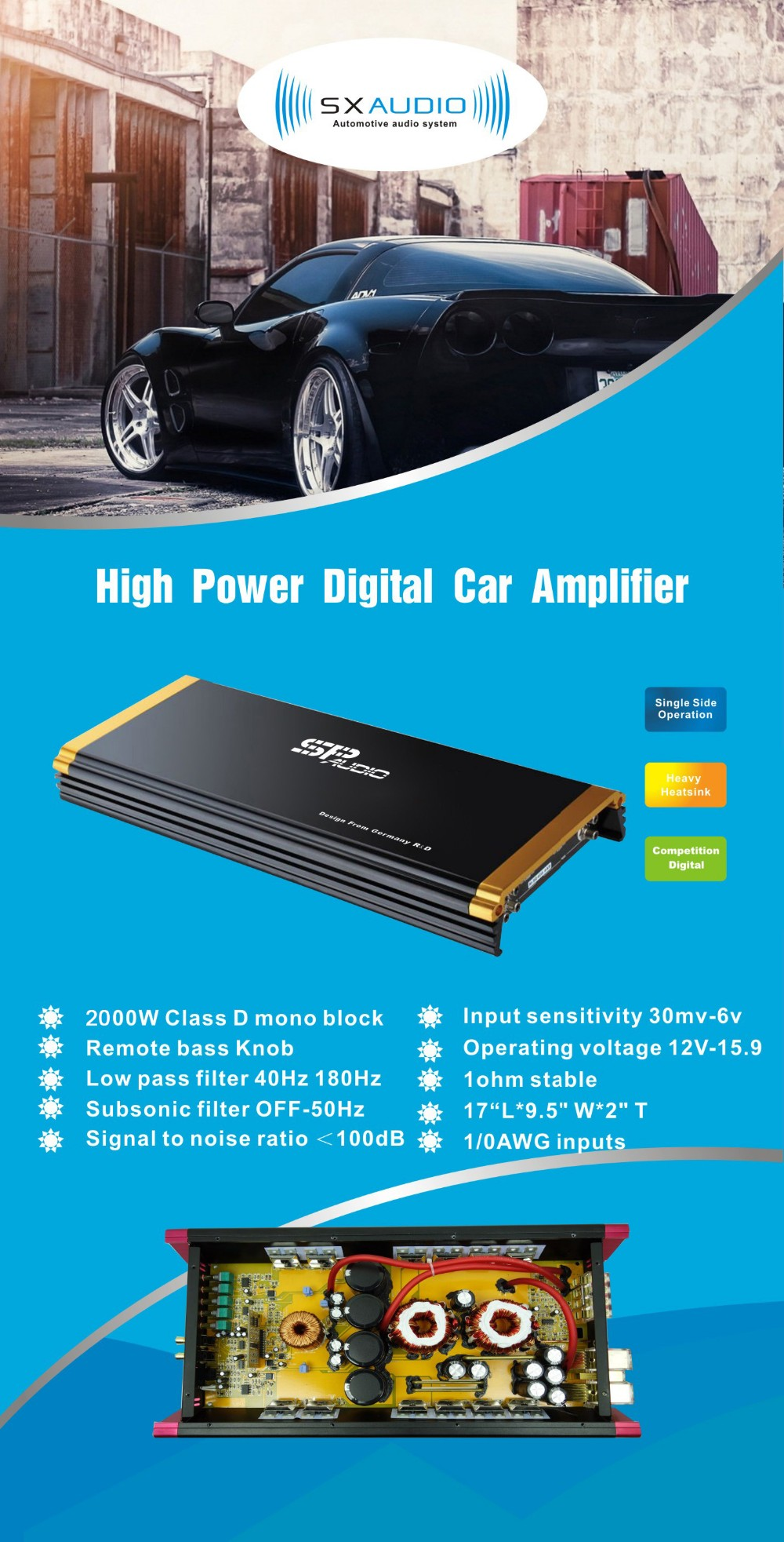 High End 2000w Car Audio Amplifierprofessional Amplifier Class Amplifiers From A To T D Monocar