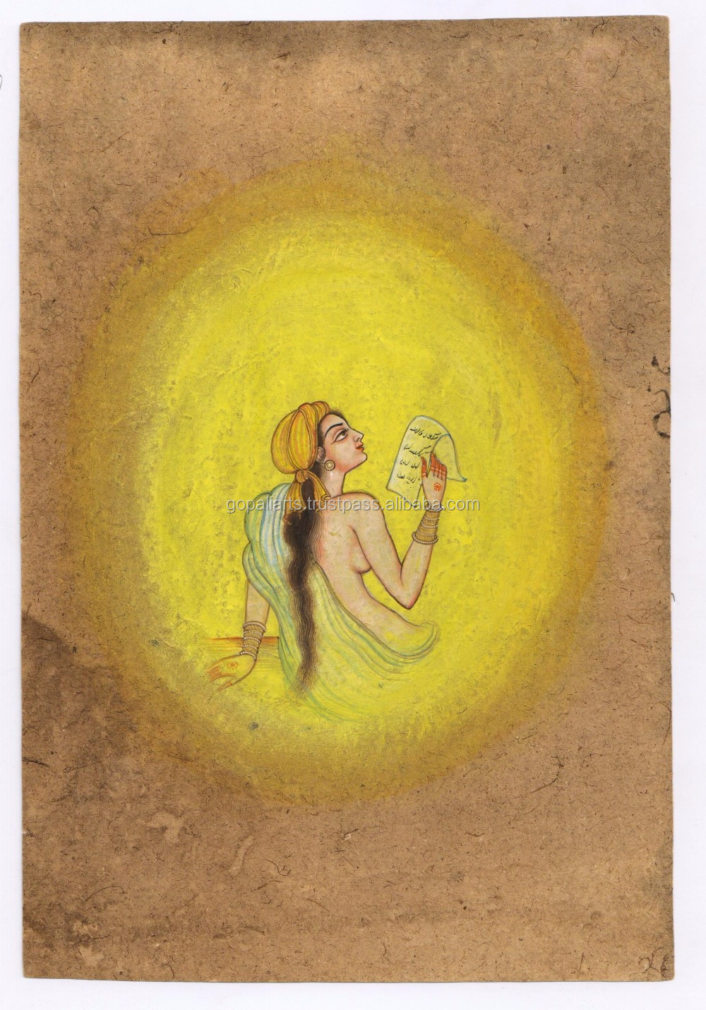 Water Color Painting Indian Miniature Nude Women Art Wall Hanging ...