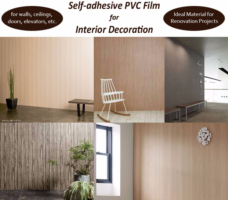Easy to install High quality self adhesive wood grain vinyl film Wood pattern PVC film , Samples also Available