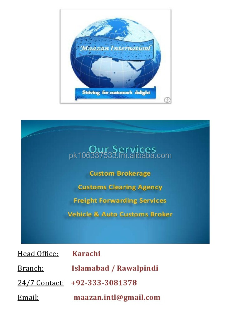 Import Custom Clearing Specialist Pakistan contact now (Maazan International)