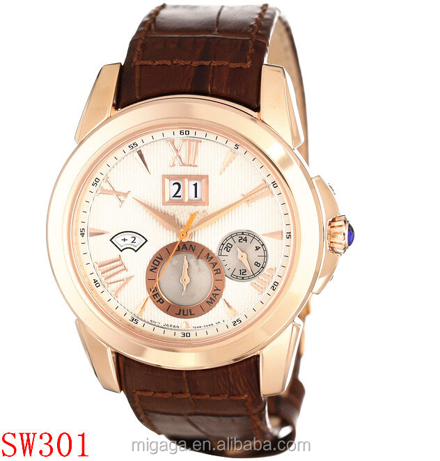 Daily water resistant cabochon crown rose gold case multifunction watch men
