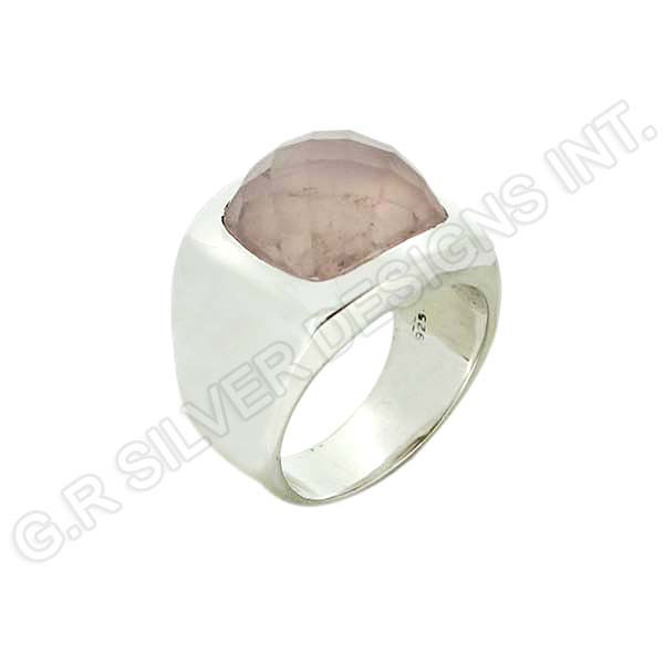 sterling silver 925 plain band ring jewellery,rose quartz gemstone wholesale jewelry
