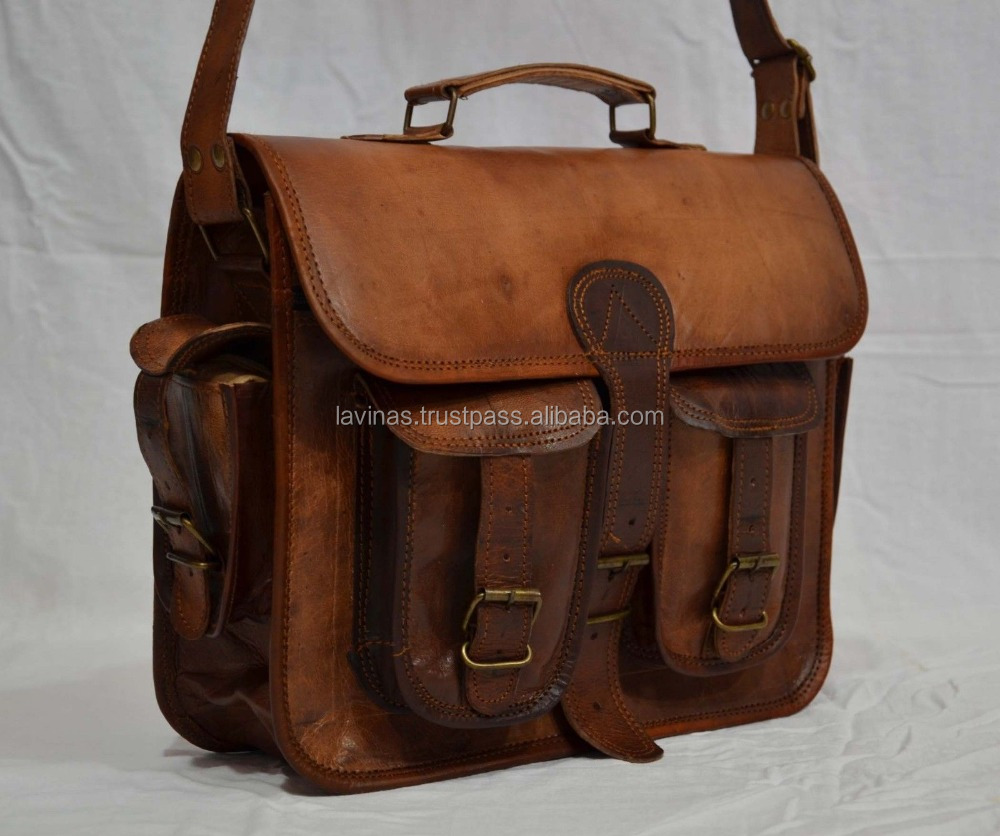 Real Vintage Leather Messenger Bag Handmade Brown bag Mens Satchel Bag Crss Body Sling