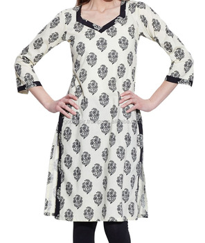 784f41718db3 Indian-Designer beautiful white and black mix Women Cotton Indian Kurti  Tunic Top Long Ethnic