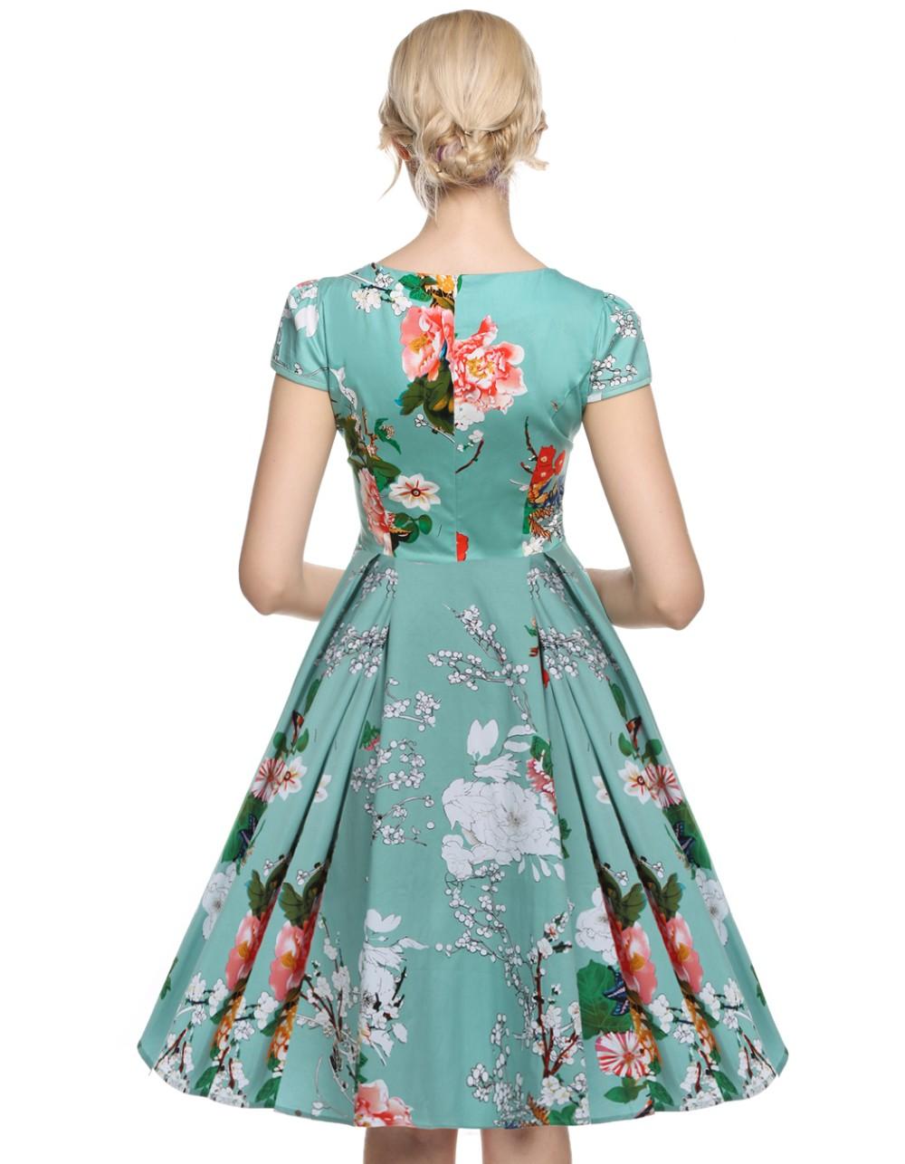 Acevog 1950\'s Vintage Style Women Cap Sleeve Floral Spring Garden ...