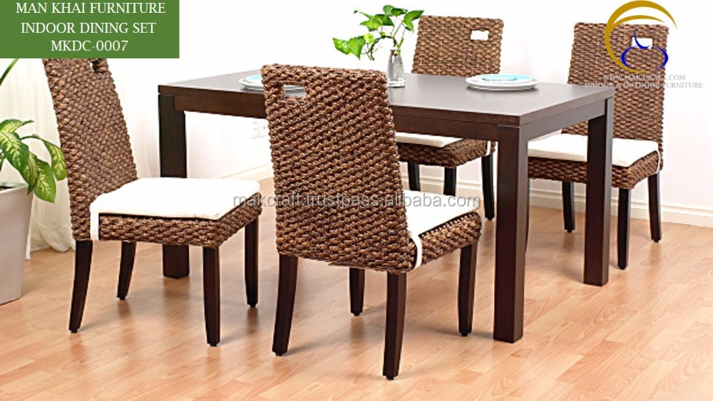 Magnificent Classic Rattan Dining Table Set And 4 Chair Indoor Luxury Dining Room Furniture Water Hyacinth Solid Wood Dining Table Set Buy Cane Dining Room Creativecarmelina Interior Chair Design Creativecarmelinacom