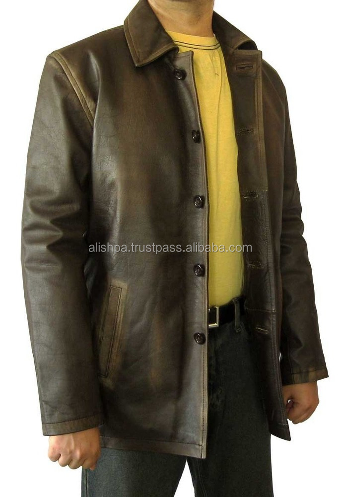 Super Brown Distressed Leather Jacket - Natural Leather Coat