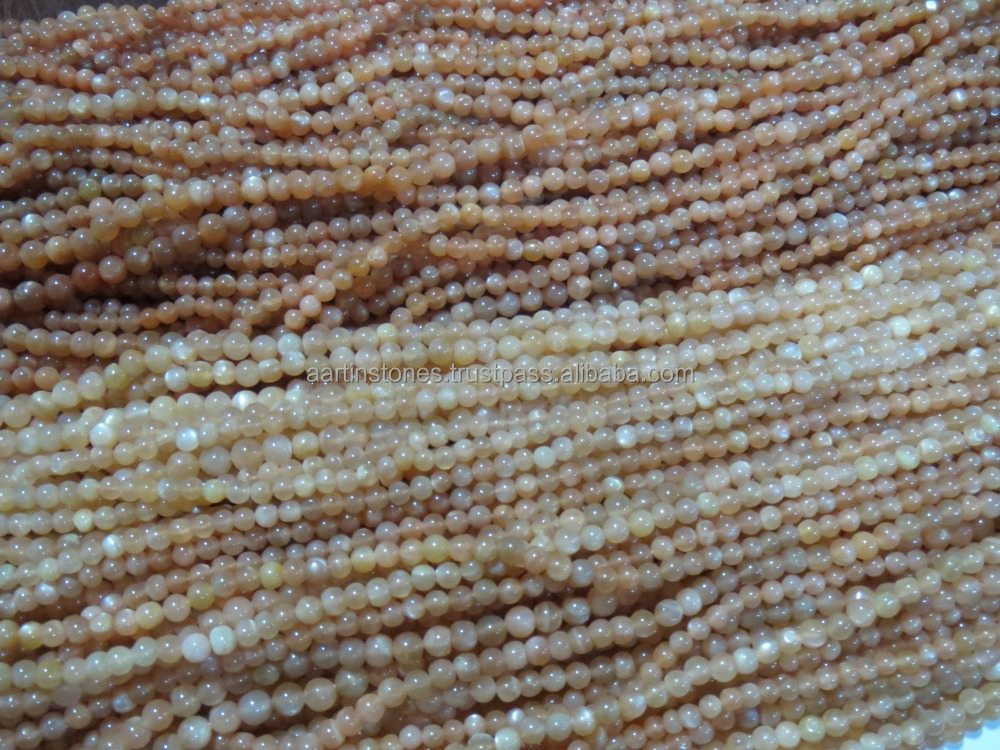 Peach moonstone 4-5mm round gemstone semi precious stone beads