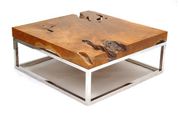 Vintage Iron Metal Solid Wood Square Coffee Table