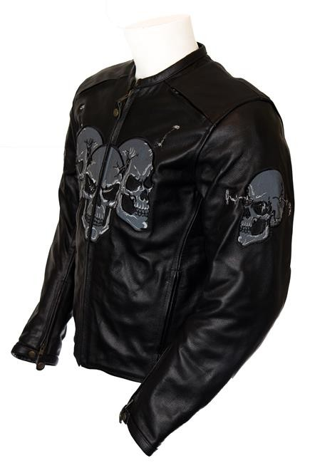 Mens Leather Biker Skull Jacket Motorcycle & Auto Racing 100% Genuine Leather Jacket for Men MB-02