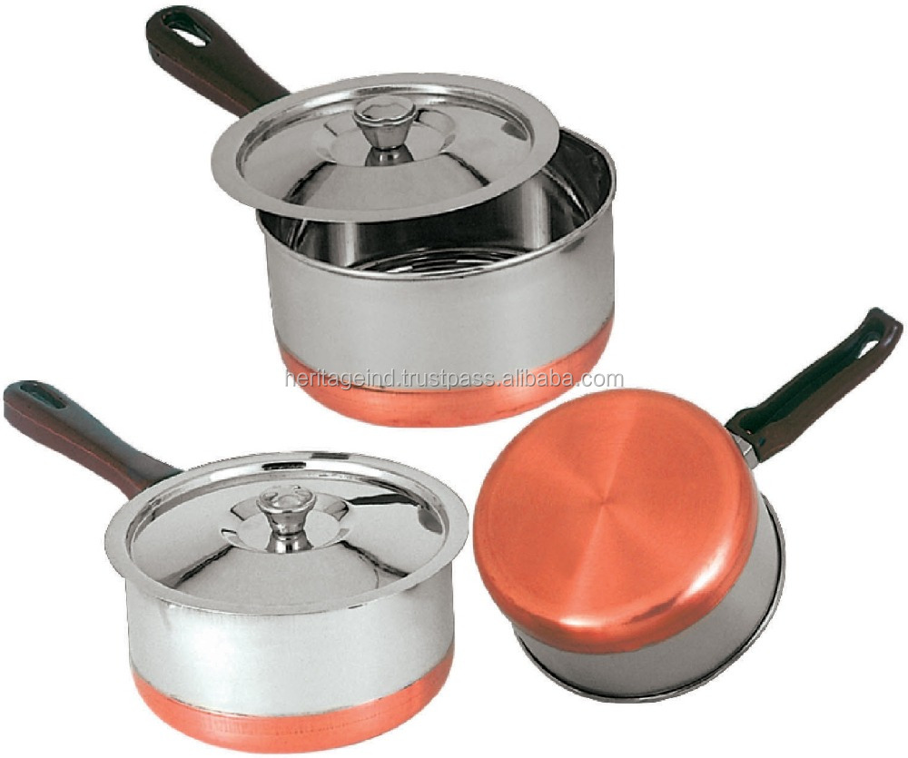 India Stainless Steel Copper Bottom Cookware Set, India Stainless ...